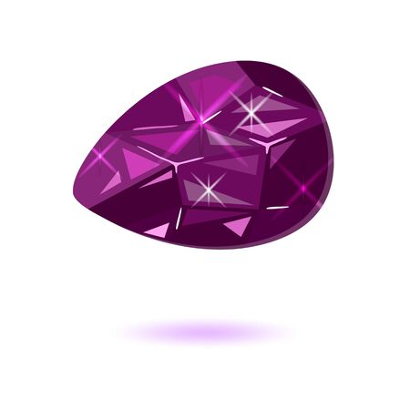 Amazing purple drop shape taaffeite. Violet mineral, rare occurrence semiprecious expensive stone for using in jewelry ring, earrings, brooch, pendant. Vector realistic illustration isolated on white.