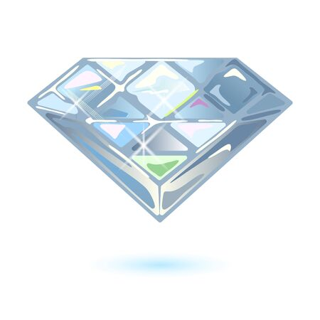 Shiny brilliant cut diamond, phianite or cubic zirconia. Dazzling transparent gemstone for using in jewelry ring, earrings, brooch, pendant. Vector realistic illustration isolated on white.