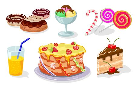 Sweet festive table with gateau, donuts, cake, ice cream, candy cane, lollipop, juice for children s holiday. Sweets, pastries, lemonade. Vector cartoon set isolated on white background. Çizim