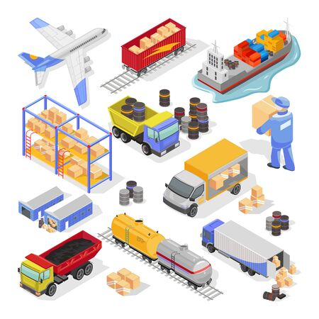 Big vector isometric set on white with types and stages of delivery, logistics for infographics, web design. Transportation by air, land, sea, storage, distribution, insurance of cargo, goods. Vettoriali