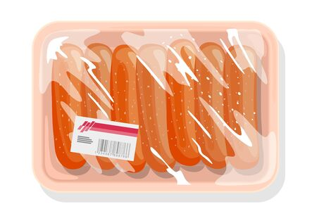 Frozen sausages, wieners are on plastic tray covered with kitchen film, clingfilm with label. Farm product from ground meat of pork, beef, chicken. Vector cartoon illustration isolated on white. Иллюстрация