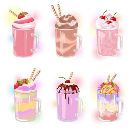 Vector set of multicolor milkshakes with straws in glass cups. Desserts with berry, fruit, chocolate, vanilla, hazeled flavours. Cold sweet beverages made from milk, ice cream. Vector cartoon.
