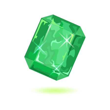 Luxury asscher cut green emerald. Natural sparkling mineral precious stone vector illustration isolated on white background for jewellery projects. Can be used like mascot, amulet, talisman, periapt.