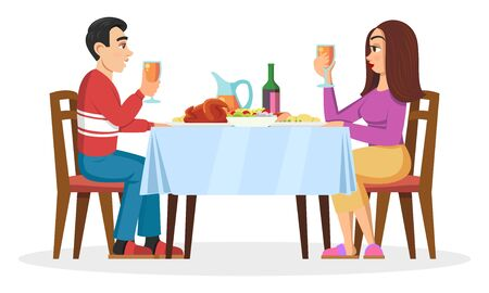 Young family, millenials, lovers having romantic dinner at home. Pretty girl and her boyfriend dating, sitting at table, eating, chatting. Vector cartoon illustration isolated on white background.
