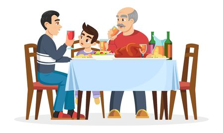 Male part of family small boy, his father or older brother and silver haired grandfather sitting at table, telling about something, eating. Men on gathering. Vector cartoon illustration on white.