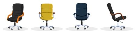 Set with rolling office chairs, armchairs in different colors blue, yellow, black from artificial leather. Front, side, thee quater view. Furniture items for work or home. Vector isolated on white.