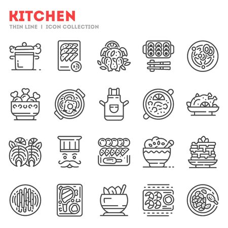 Big set of kitchen equipment, chef supplies thin line icons isolated on white. Cuisine outline pictograms collection, logos. Food, eating, dishes, cookware vector elements for infographic, web. Stok Fotoğraf - 138390365