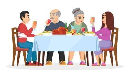 L'enfant adulte fait connaissance avec les parents de l'élu. Famille amicale célébrant les vacances à la maison, mangeant des friandises. Jeune couple fiancé. Illustration de dessin animé de vecteur isolée sur blanc.