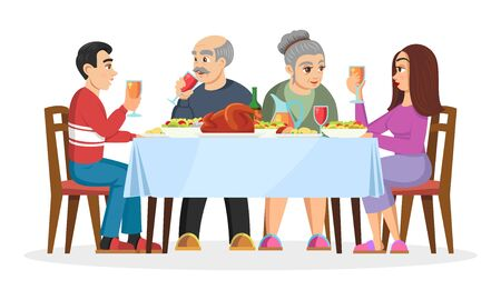 Adult children getting to know with parents of his or her chosen one. Friendly family celebtrating holidays at home, eating treats. Engaged young couple. Vector cartoon illustration isolated on white.