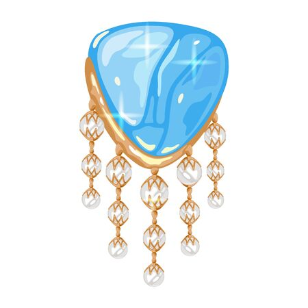 Stylish golden brooch, charm or pendant with big triangle light blue transparent aquamarine or topaz and five dangling filaments with round white opals, pearls or diamonds. Vector realistic. Illustration