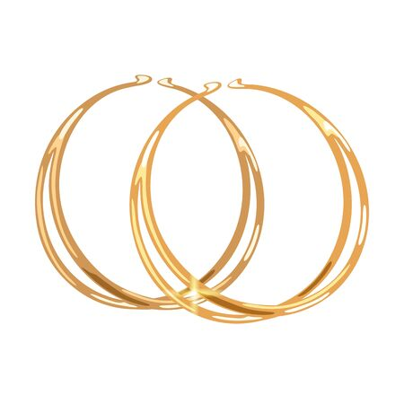 Stylish double hoops or rings yellow gold earrings or earclips. Elegant accessories vector realistic illustration isolated on white for fashion, jewelry, bijouterie shop, store, showcase, website.