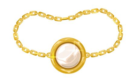 Yellow golden chain with white opal, pearl or diamond in round pendant, charm. Modern armlet, bracelet, circlet. Vector realistic illustration for fashion, jewelry, bijouterie sale banner, flyer, ads. Illustration