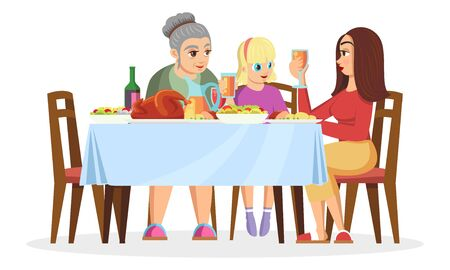 Blond girl, her mother or elder sister and grandmother sitting at table, chatting, eating, celebrating holidays. Family values, women s gathering. Vector cartoon illustration isolated on white.