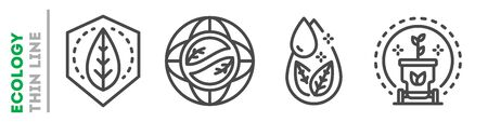 Environmental protection set of thin line icons on white. Outline ecology pictograms collection. Urban greening, nature preservation, eco friendly vector elements for infographic, web, logos.