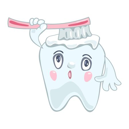 Funny tooth looking intently upward and cleaning, whitening itself with pink toothbrush and toothpaste. Daily oral hygiene, dental care. Vector cartoon illustration isolated on white background. Vektoros illusztráció