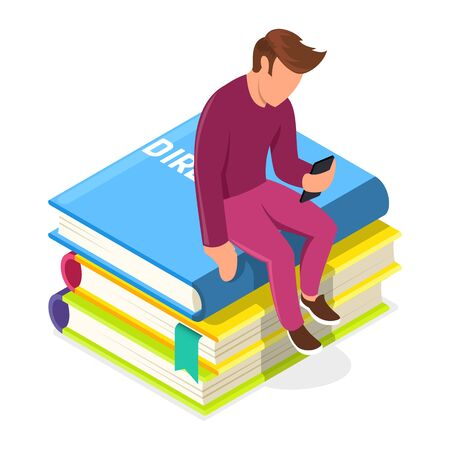 Young man sitting on pile of books and looking to smartphone. Guy using media library or administrator providing support. Virtual repository of visual content, audio, documents. Vector isometric.