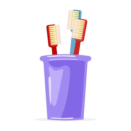 Two red and blue toothbrushes are in violet glass. Family toiletries, personal hygiene items. Oral care. Bathroom, washroom supplies. Vector cartoon illustration isolated on white background.
