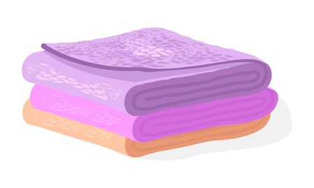Pile of orange, pink, violet soft terry towels for hair, face, hands, body, floor. Bathroom or washroom accessories for home, hotel, wellness center, spa club. Vector cartoon illustration on white.