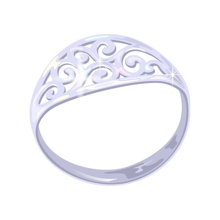 Carved elegant platinum, white golden or silver ring. Dazzling expensive accessory, bijouterie vector realistic illustration for jewelry, fashion shop, showcase, store, website design, advertisement.