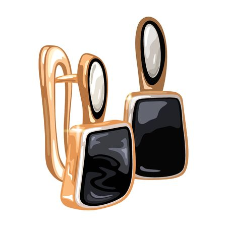 Elegant golden earrings with oval and square shape precious stones white and black opal, spinel or agate. Fashion jewelry, bijouterie. Female accessories vector realistic illustration.