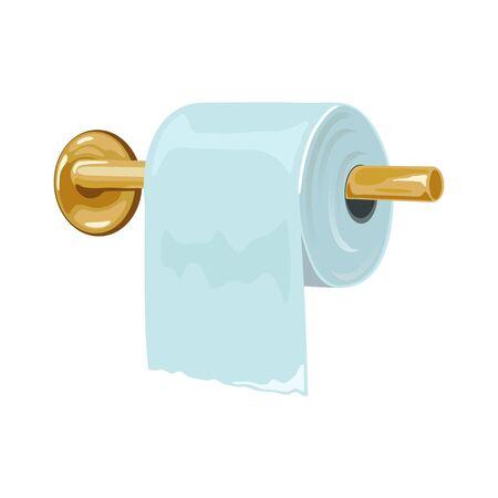 Porta carta igienica in metallo giallo attaccato a parete e rotolo. Elemento interno del bagno, della toilette, del guardaroba o della toilette. Prodotto per l'igiene personale. Illustrazione vettoriale isolato su sfondo bianco. Vettoriali