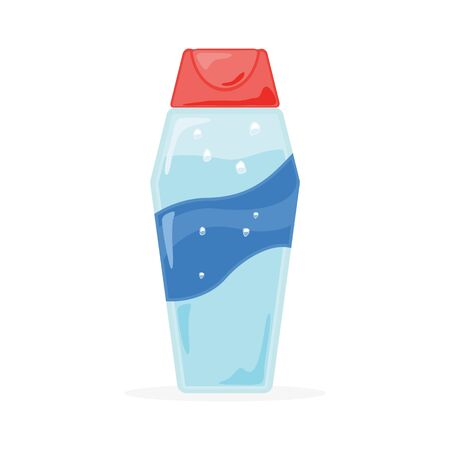 Light azure bottle with wide blue diagonal transversing wavy strip closed by red cap. Aquamarine template, mockup plastic packing for shampoo, hair conditioner, balm, liquid soap, body cream, lotion.