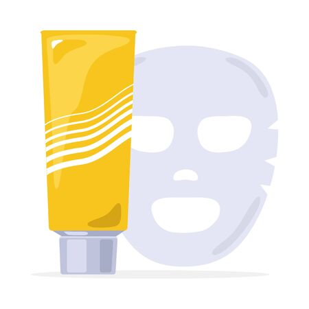 Yellow tube with grey lid. Rejuvenating mask with vitamins, minerals. Cosmetic clay or mud for beauty, smooth, treatment, clarifying face or body skin. Vector illustration isolated on white.