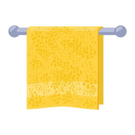 Yellow soft terry towel hanging on metal holder attached to wall. Light red bathroom or washroom interior element for home, hotel, wellness center, spa club. Vector cartoon illustration on white.