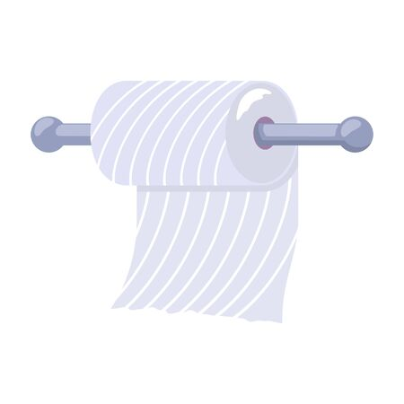 Metal toilet paper holder attached to wall and roll. Bathroom, lavatory, cloakroom or toilet room interior element. Personal hygiene product. Vector illustration isolated on white background. Illustration