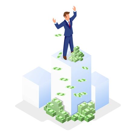 Businessman in formal suit standing on white cube near money and lifting hands up. Financial success, profit, getting investments, credit, loan, donation, insurance payout isometric vector concept.