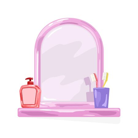 Pink frame mirror with shelf where are violet glass, yellow and red toothbrushes, bottle with pump. Bathroom, washroom interior supplies. Vector cartoon illustration isolated on white background.