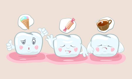 Visual nutritional guidelines, recommendations to keeping teeth white, strong and healthy. Useful and harmful food. Prevention of caries, decay, cavity. Vector cartoon isolated illustration.