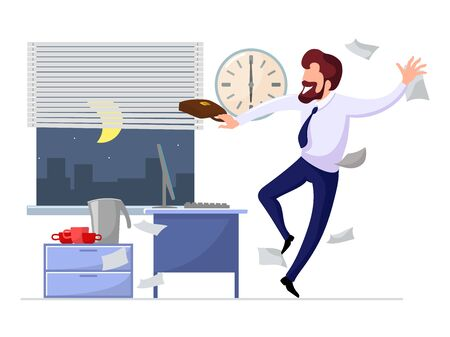 Happy businessman rejoices at the end of working day, week or beginning of vacation. Bearded man in formal suit with briefcase hurry up, leaving office at 6 PM quickly. Vector cartoon illustration.