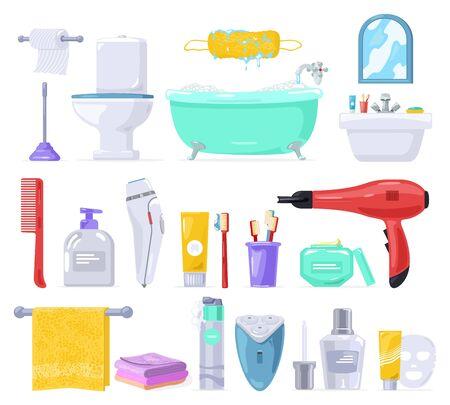 Grande set vettoriale con cura del corpo, prodotti per l'igiene personale, porta carta igienica per sanitari. specchio, lavabo, water, vasca da bagno, pettine, asciugamano, spazzolino da denti, dentifricio, rasoio, maschera in crema per asciugacapelli