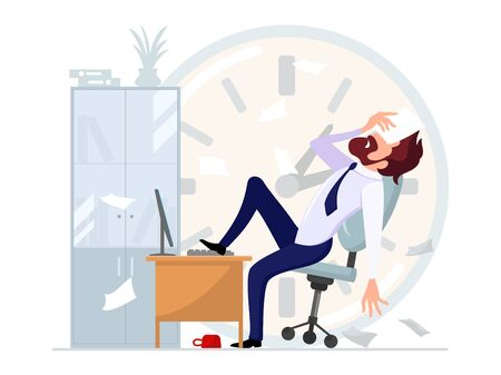 Businessman sitting leaning back in office chair with his foot on computer desk and covering his eyes with document. Stress, depression, laziness, job burnout at workplace. Cartoon vector illustration