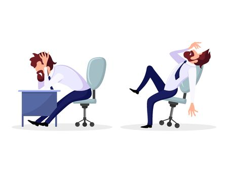 Set with poses of office worker, employee who has psychological problems. Bearded man in formal suit suffering at workplace. Inner, mental conflict, rejection of situation. Cartoon vector on white.