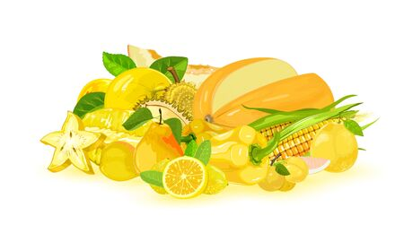 Stack with fresh yellow vegetables and fruits in food market or grocery apple, melon, carambola, maize, lemon, bell pepper, pear, myrobalan, pomelo, durian. Vegetarian cuisine. Vector on white.