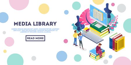 Man and woman looking to monitor of big computer, reading information. Guy sitting on pile of books with mobile phone. Media library isometric vector for web, landing page. Place for text, copy space.