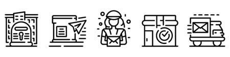 Big set of post office buildings and services thin line icons isolated on white. Courier, transport outline pictograms collection, logos. Carrier, delivery vector elements for infographic, web. Stock Illustratie