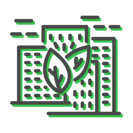 Thin line icon related with natural resources in smart city isolated on white. Environmental changes problems decisions outline pictogram, logotype. Urban greening vector element for infographic, web. Stock Illustratie