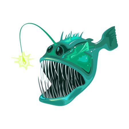 Anglerfish is bony predatory fish with large head that bear enormous, crescent-shaped mouth full of fang-like teeth and long filament, illicium. Marine creature, beast, monster. Vector on white.