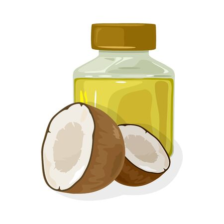 Fresh coconut halves are near transparent jar closed by cap with curative oil. Used for cooking, body and hair care, for massage, in cosmetic products. Vector illustration isolated on white. Stock Illustratie