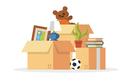 Things collected to pile ball, teddy bear, plant, books, picture, cardboard boxes for relocation, moving to other flat, apartment, house. Transport or removal company services. Cartoon vector. Foto de archivo - 142957162