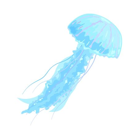 Beautiful swimming blue and violet jellyfish. Marine underwater animal, creature. Sea travel, voyage, tourism, summer vacations concept. Vector cartoon illustration isolated on white.