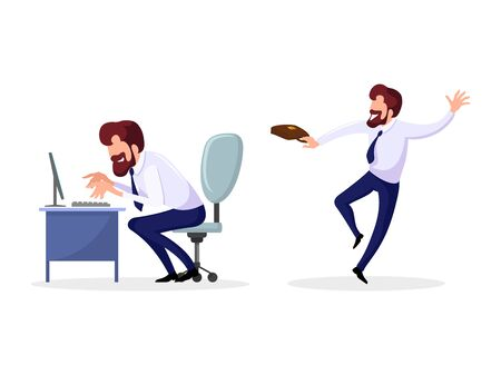 Set with employee, businessman, who loves his work. Positive man in formal suit sits at computer desk, types, comes to work and leaves it joyfully. Vector cartoon illustrations isolated on white.