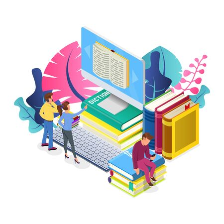 Young people reading book on big computer, guy sitting on pile of literature and looking to smartphone among pink, blue plants. Online education, media library, e-learning. Vector isometric on white. Stock Illustratie