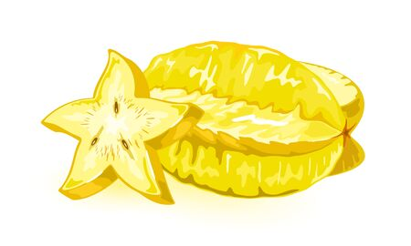 Carambola, star fruit or five-corner whole and cutted to slice. Yellow tropic edible oblong fruit with sour or mildly sweetish taste and long brown seeds. Vector illustration isolated on white. Stock Illustratie