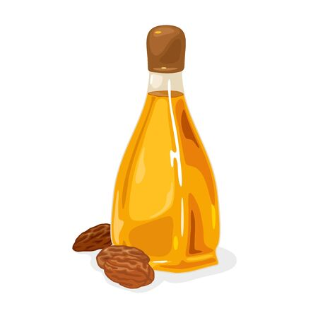 Almond nuts are near glass bottle with yellow oil closed by brown plastic cap. Antioxidants, fatty acids source. Multipurpose, non-toxic beauty treatment. Vector isolated on white for packing design. Stock Illustratie