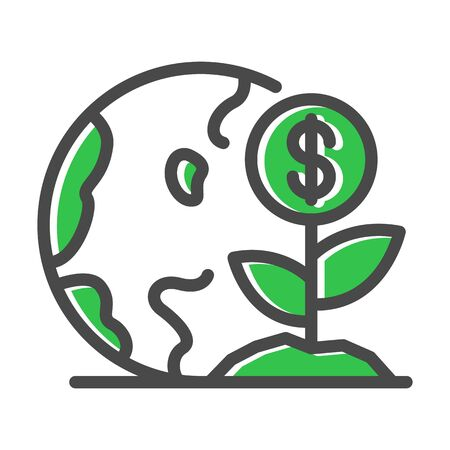 Green plant near globe, earth. Thin line icon related with resource-saving technologies isolated on white. Outline smart city pictogram, logotype. Ecology problem vector element for infographic, web.