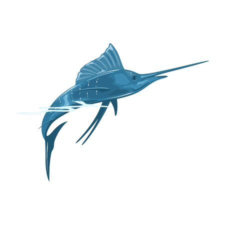 Swordfish or broadbill is large, predatory fish with elongated, round-bodied and long, flat, pointed bill. Using for cooking grill, steak, marinate . Vector cartoon illustration isolated on white. Stock Illustratie